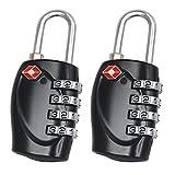TRIXES 2 cadenas noirs certifiés TSA à combinaison 4 chiffres de voyage pour...