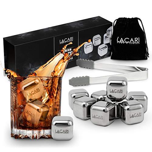 LACARI Edelstahl Eiswürfel Set | [8x] wiederverwendbare Eiswürfel für Gin, Whisky, Rum, Wein | Ice Cube Würfel Form Inklusive Zange & Stoffbeutel | E-Book Geschenk Whisky | Geschenk Geburtstag