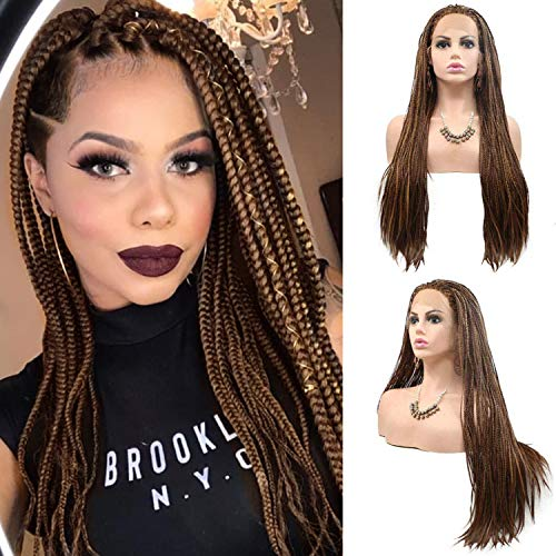 Premium Realistic Hand Braided Lace Front Wigs for Black Women Micro Long Mixed Brown Braiding Braids Wig with Baby Hair Natural Looking Heat Resistant Hair Replacement Wigs Daily Cosplay 28 Inches