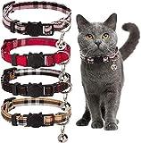 kingkindsun Liberación rápida Collar de Gato, con Pajarita & Campana, Ajustable de 17 a 27 cm,2Paquete (Plaid Collar-4 Pack)