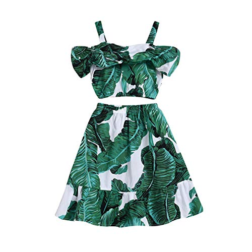 Toddler Baby Girl Strap Banana Leaf Print Strappy Cold Shoulder Cropped Top + Long Skirts Outfits Clothes Set (Green, 4-5 Years)