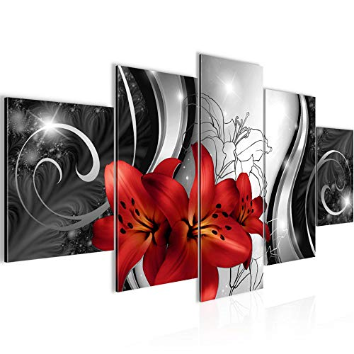 Runa Art Bilder Blumen Lilien Wandbild 200 x 100 cm Vlies - Leinwand Bild XXL Format Wandbilder Wohnzimmer Wohnung Deko Kunstdrucke Rot Grau 5 Teilig - Made IN Germany - Fertig zum Aufhängen 208451c