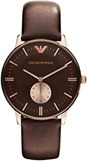 Emporio Armani For Men Classic Retro Brown Dial Leather Band Watch - AR0383