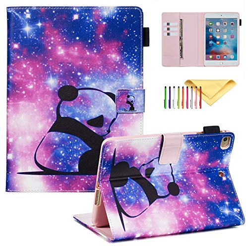 Case for Apple iPad Mini 5/4/3/2/1, Premium PU Leather Stand Cover with Smart Auto Wake/Sleep, Card Slots Wallet Design, Panda Baby