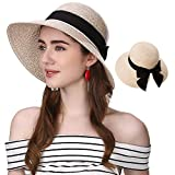 Jeff & Aimy Ladies Packable Floppy Summer Sun Beach Straw Hats Accessories Wide Brim Bow Knot Adjustable Chin Strap Foldable Beige