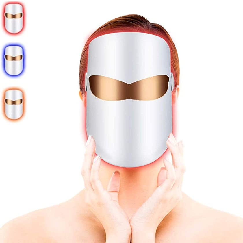 監督する航空便静けさLEDフェイシャルマスク、ライトセラピーフェイスマスクにきび治療、LEDフォトンセラピーフェイシャル美容マスクにきびスポットのしわコラーゲンコラーゲンスキンケアの若返りのための無制限の治療