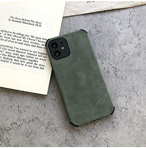 GGOIl Funda de Cuero para teléfono para iPhone 12 11 Pro MAX Mini XR XS X 8 7 Plus SE 2020 Funda Trasera de Silicona Suave a Prueba de Golpes, Verde, para iPhone XR