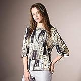 リリアンビューティー(Liliane Burty) ドイツ製素材 ビルディングプリントTシャツ【ベージュ/3L】