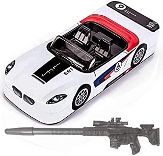SHREE TECHNESH Dual Space Racing Car Shape Metal Kids Pencil Box with Gun Shape Pen (Assorted, Pack of 1)