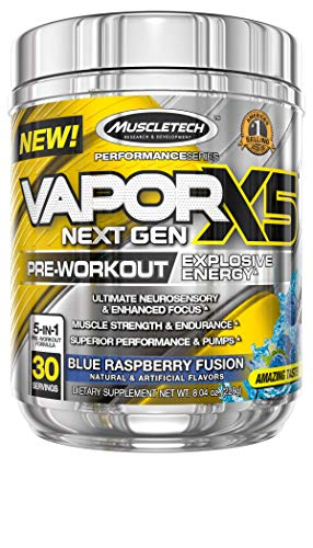 Pre Workout Powder, MuscleTech Vapor X5 Next Gen Pre-Workout Supplement, Preworkout Powder for Men & Women, Creatine for Muscle Builder, Yohimbe-free, Energy Drink, Blue Raspberry (30 Servings)