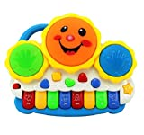 Electronic drums play melodious songs with flashing lights Organ keyboard plays musical notes, animal sounds and songs Bright, attractive colors and baby design Battery Operated, 3 Batteries