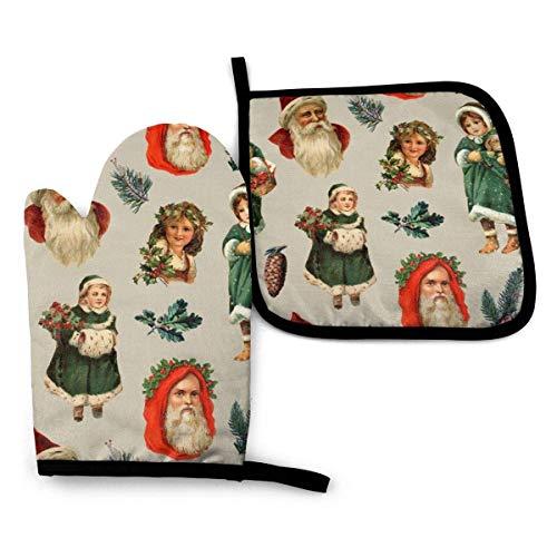 Pamela Hill Ofenhandschuh und Topflappen, Vintage viktorianisches Weihnachtsofenhandschuh- und Topflappenmatten-Set, fortschrittlicher hitzebeständiger Ofenhandschuh