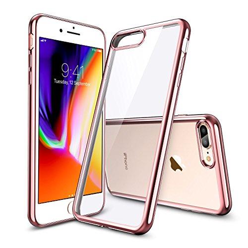 ESR iPhone 8 Plus Hülle, iPhone 7 Plus Hülle Kabelloses Aufladen Unterstützung Transparent Durchsichtig Ultradünn Klar Weiche TPU Schutzhülle mit Farbrahmen für iPhone 8P/ 7P - Rose Gold