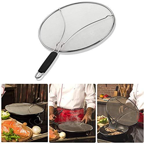 Zeeanker Edelstahl-Spritzer-Schirm-Schutz,Fettspritzschutz für Bratpfanne, stoppt 99% des heißen Ölspritzers,Spritzschutz zum Kochen - Eisen Pfannendeckel hält die Küche sauber (STIL-29CM)