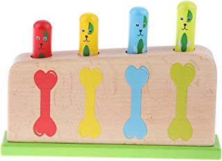 yotijay Classic Baby Toddlers Wooden Up Toy Dog Bone Party Supplies Activity Toy