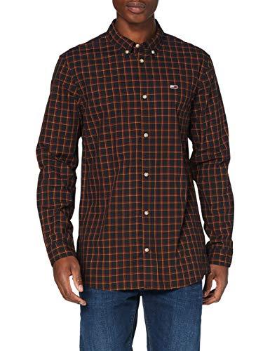 Tommy Hilfiger TJM Essential Poplin Check Camisa, Negro (Black/Multi), X-Small para Hombre