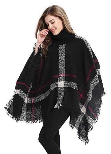 Women's Assorted Colors Striped Irregular Knitting Cape Cloak, Black