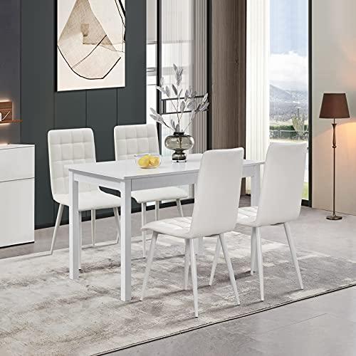 TUKAILAI Juego de 4 sillas y mesa de comedor de madera blanca,...