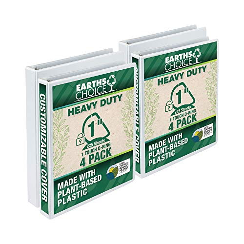 Samsill Earth's Choice Biobased Heavy-Duty 3 Ring View Binder, 1 Inch Locking One Touch D-Ring, Up to 25% Plant Based Plastic, Eco-Friendly, Customizable Clear View Cover, White, 4 Pack (MP49837)