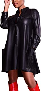 Women Faux Leather Loose Shirt Dress Long Sleeve A-line Cocktail Party Midi Dress Clubwear