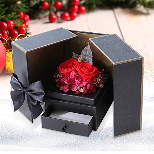 InLoveArts Caja de joyería de Rosa eterna, Eterna Hecha a Mano Rosa, Caja de Regalo de joyería Rosa preservada a Mano para cumpleaños, Boda, Navidad, Regalo del día de la Madre, día de San Valentín