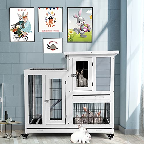 Aoxun 2 Story Rabbit Hutch Indoor/Outdoor -Wooden Bunny Cage Indoor Guinea Pig Cage Pet House for Small Animals with Ventilation Door Removable Tray Waterproof Roof, Grey White,37inch