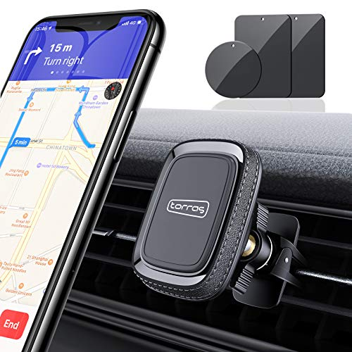 TORRAS Magnetic Phone Car Mount, Anti-Shake Air Vent Car Phone Holder Magnet Stand Compatible with iPhone 12 11 Pro Max XS 8 Plus 7, Samsung Galaxy S20 S20+ S10 Plus S9+ Note 10 and All Smartphones
