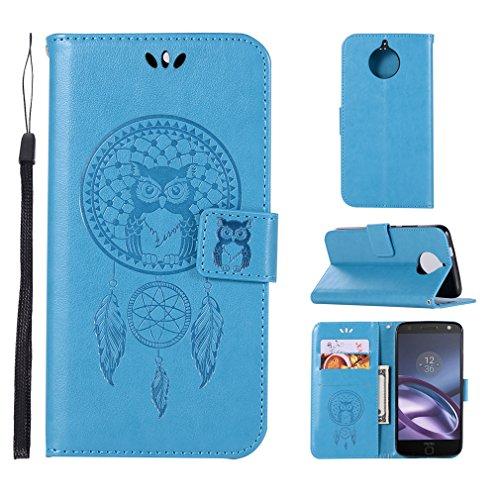 LMAZWUFULM Hülle für Motorola Moto E4 Plus (5,5 Zoll) PU Leder Magnetverschluss Brieftasche Lederhülle Eule & Traumfänger Muster Standfunktion Ledertasche Flip Cover für Motorola E4 Plus Blau