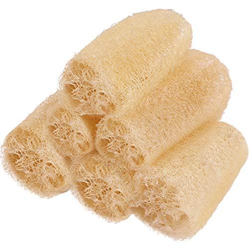 8 Piezas Esponja Vegetal Entera 16-20 cm Esponjas de Loofah Biodegradables Exfoliantes Depurador de Celulosa para Fregar