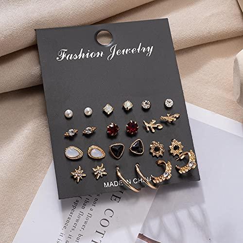FEARRIN Pendientes Vintage Retro Gold Pendientes de Mujer Set Pearl Borla Pendientes para Mujer Gold Bohemia Joyería de Moda Geometric Crystal Heart Stud Earring set506