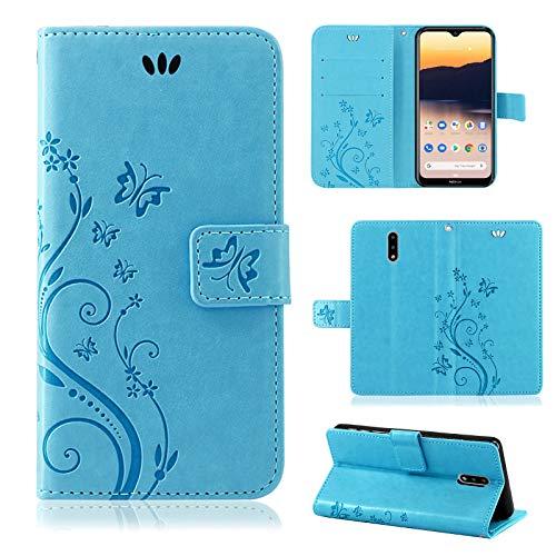 betterfon | Nokia 2.3 Hülle Flower Case Handytasche Schutzhülle Blumen Klapptasche Handyhülle Handy Schale für Nokia 2.3 Blau
