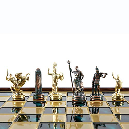 Manopoulos Greek Mythology Chess Set - Brass&Green - Wooden case Green Board