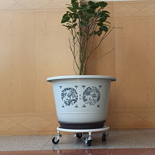 CKH Support de Pot de Fleur Mobile Art de Fer Plateau de Disque Circulaire Rugueux Support de Pot de Fleur Mobile Fond de Tablette Fleur Bonsai Blanc
