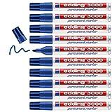 Edding 3000 marcador permanente - azul - 10 rotuladores - punta redonda 1.5-3 mm - indeleble de secado rápido - resistente al agua y a los borrones - cartón, plástico, madera, metal, tela - universal