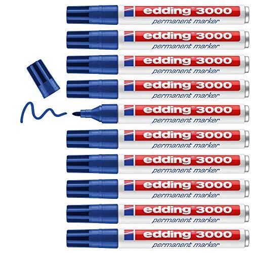 Edding 3000 marcador permanente - azul - 10 rotuladores - punta redonda 1.5-3 mm - indeleble de secado rápido - resistente al agua y a los borrones - cartón, plástico, madera, metal, tela - un