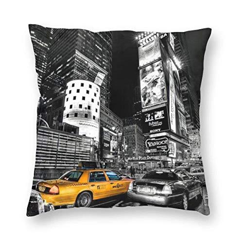 YHKC Fodere per Cuscini Quadrati Decorativi Vintage di New York City Fodera per Cuscino in Velluto 18x18 Pollici per Divano da casa