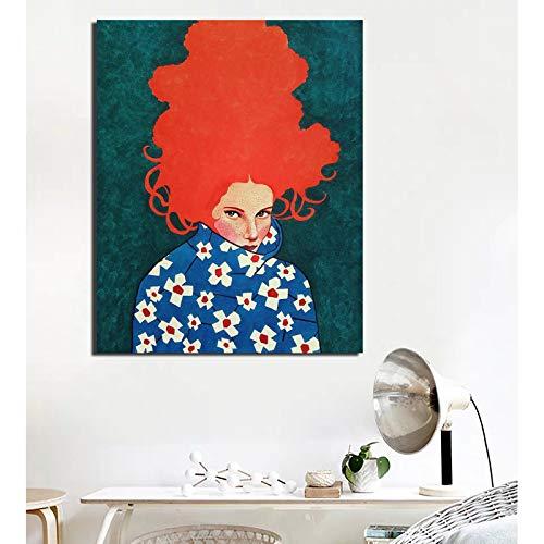 Retro coltrui poster abstract meisje kleding canvas schilderij woonkamer woondecoratie moderne olieverfschilderij muur poster frameloze schilderij 30x40cm