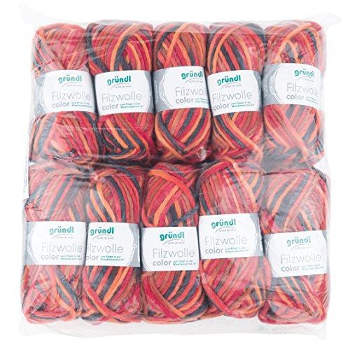 Gründl Color, voordeelpakket: 10 bollen à 50 g viltwol, wol, rood-oranje-zwart multicolor, 31 x 32 x 6 cm