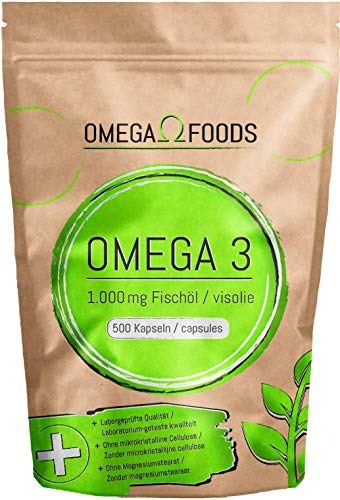 Omega 3 Fischöl Kapseln – 500 Kapseln Hochdosiert In Besonderer Qualität – 1000mg Omega3 Fettsäuren Pro Kapsel