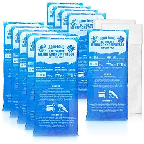 com-four® 10x Große Mehrfach-Kompresse mit Vlies-Hülle, Kalt und Warm Kompressen, 29 x 12 cm - Mikrowellen geeignet (10 Stück - groß)