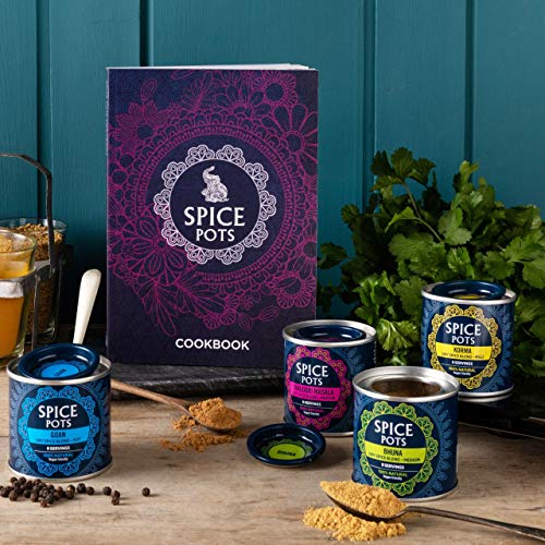Spice Pots Curry Cookbook Kit - 4 Curry Powders and an Indian Cookbook – (4 x 40g) Gluten Free