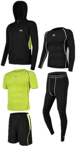 FonctionneHommest Fitness Tights VêteHommests d'entraîneHommest de 5 pièces pour hommes avec vêteHommests de plein air, chemise à hommeches longues, pantalons serrés, t-shirt à hommeches courtes, courtes Hommes's Fitness Clothi