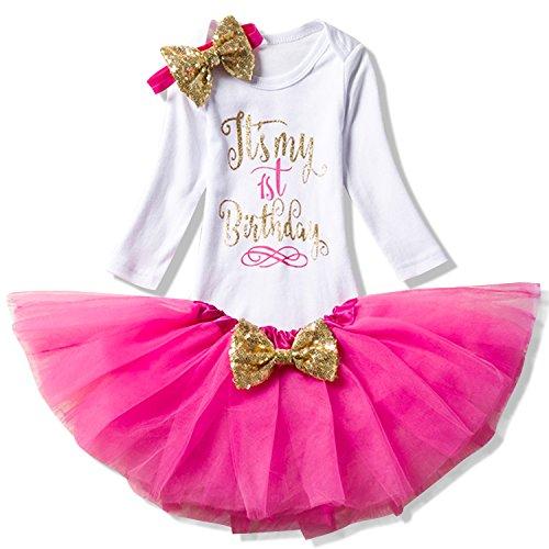 NNJXD Mädchen Neugeborene Es ist Mein 1. Geburtstag 3 Stück Outfits Strampler + Rock + Stirnband Größe (1) 1 Jahre Rose 1