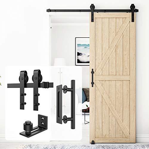 Homlux 5ft Heavy Duty Sturdy Sliding Barn Door Hardware Kit Single Door Whole Set Include 1x Round Door Handle, 1x Floor Guide - Fit 1 3/8-1 3/4' Thickness Door Panel(Black)