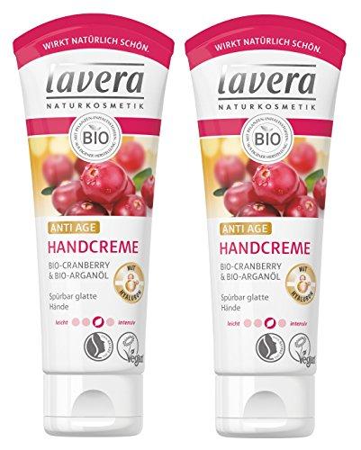 lavera Handcreme Anti Age mit Hyaluron ∙ Bio Cranberry & Bio Arganöl ∙ Handpflege für spürbar glatte Hände ∙ vegan ✔ Bio ✔ Natural & innovative Hand Care ✔ Naturkosmetik 2er Pack (2 x 75ml)