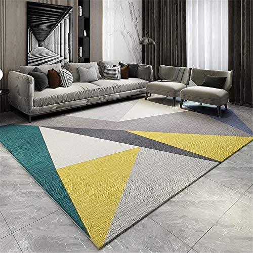 Kunsen La Alfombra Creativo Resistente a Las Manchas sofá Alfombra Diseño de patrón de triángulo geométrico Crema Gris Verde Amarillo Suave Alfombra 120 * 170cm