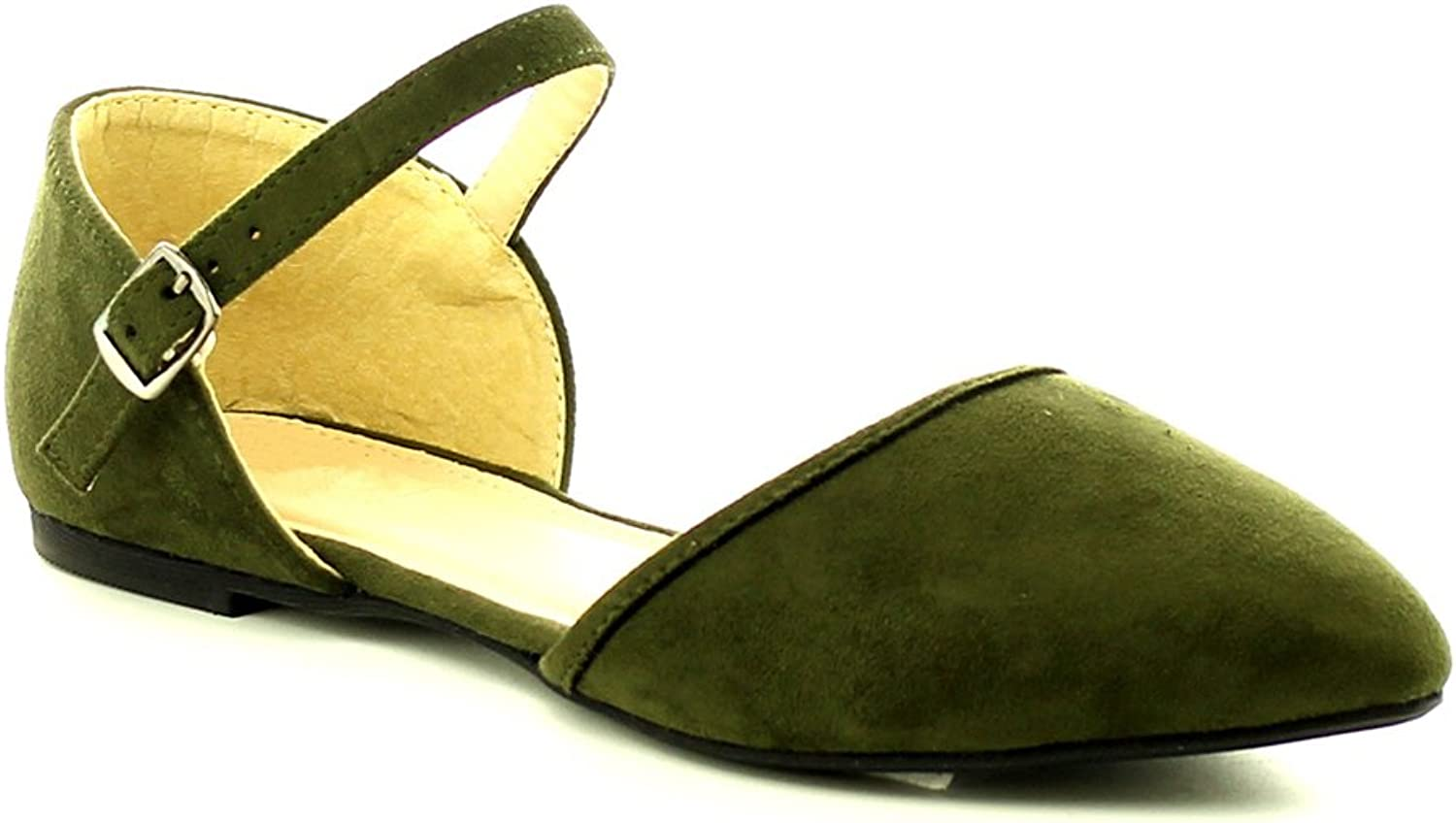 Westcoast Shilla-01 Women's Casual Pointed Plain Ballet Ankle Strap Slip On Flats Suede shoes Khaki 10