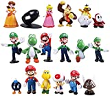 18 Pcs Super Mario Brothers Action Figures Set - 18 Pcs Set Super Mario Cake Toppers - Kids Toys Cake Toppers Collection Playset - Cartoon Figure Decoration
