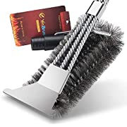 Belletek BBQ Cleaning Brush,Grill BBQ Brush with Scraper,BBQ Brush 100% Safe Bristle Free BBQ Brush, Rust-Proof Stainless Steel- BBQ Grill Cleaner for Gas, Charcoal, Smoker, Porcelain.
