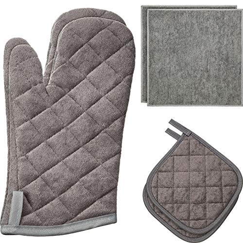 6 Pieces Oven Mitts and Pot Holders Set, Cotton...